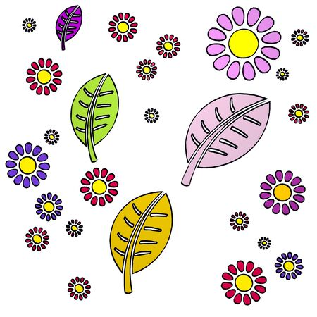 happy spring flower hand drawn sketch of four leave with childish flowers on white background