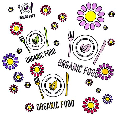 happy spring flower hand drawn sketch of four organic food with childish flowers on white background photo