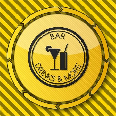 casse-cro�te: bouton de service de la construction d'un symbole snack-bar sur elle et fl�ches circulaires sur ray� b�timent jaune site de fond