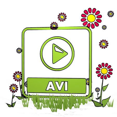 avi: spring flower hand drawn sketch of avi file with artistic flowers on white background