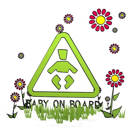 spring flower hand drawn sketch of baby on board with artistic flowers on white background