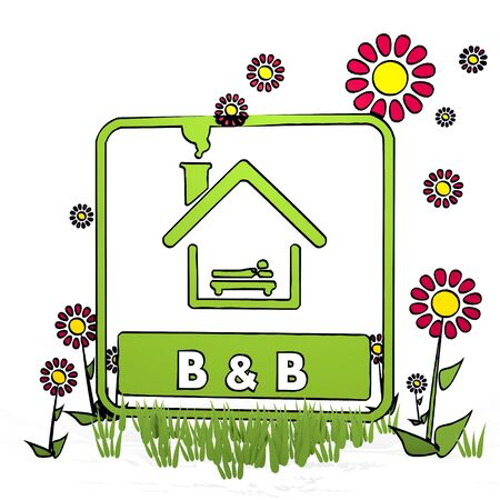 breakfast in bed: spring flower hand drawn sketch of bed and breakfast with happy flowers on white background Stock Photo
