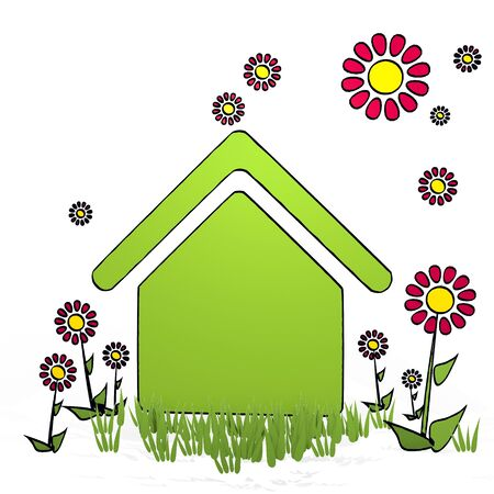 fantasize: spring flower hand drawn sketch of building with scribble flowers on white background