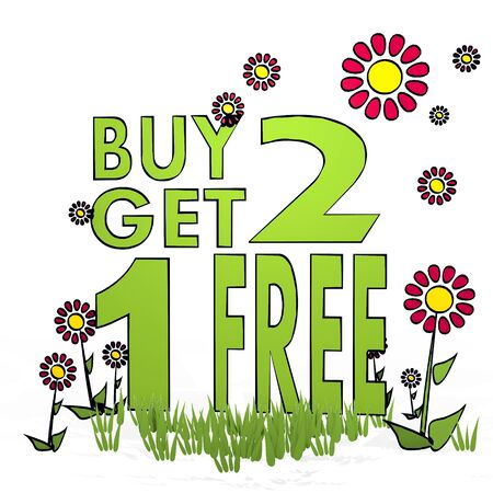 fantasize: spring flower hand drawn sketch of buy two get one free with fresh flowers on white background