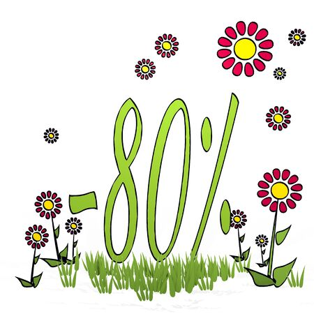 spring flower hand drawn sketch of  discount with scribble flowers on white background
