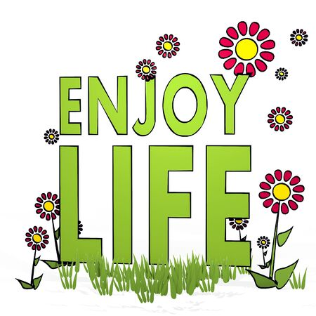 enjoy life: fiore di primavera a mano schizzo di godersi la vita con i fiori artistici su sfondo bianco disegnato