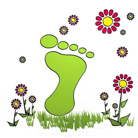 fantasize: spring flower hand drawn sketch of footprint with artistic flowers on white background