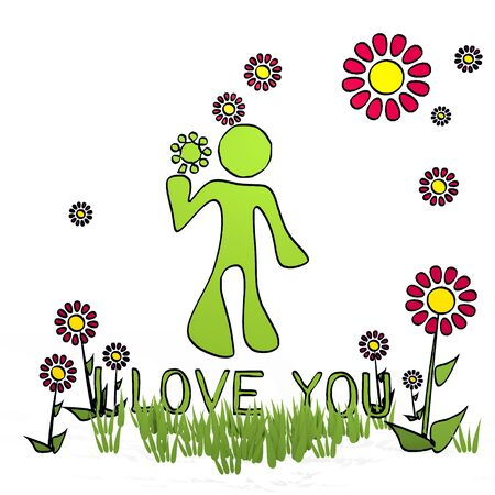 spring flower hand drawn sketch of I love you with childish flowers on white background