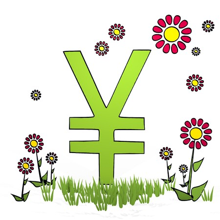 spring flower hand drawn sketch of Japan Yen with artistic flowers on white background