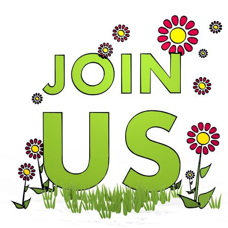 join us: spring flower hand drawn sketch of join us with scribble flowers on white background