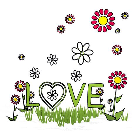 spring flower hand drawn sketch of love with hand drawn flowers on white background