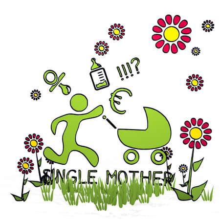 AlleinerzieherIn: Fr�hlingsblume Hand gezeichnete Skizze der alleinerziehenden Mutter mit Hand gezeichneten Blumen auf wei�em Hintergrund Lizenzfreie Bilder