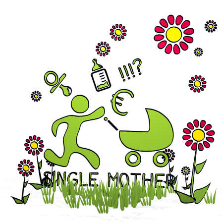 fantasize: spring flower hand drawn sketch of single mother with hand drawn flowers on white background Stock Photo