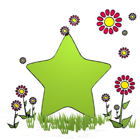 fantasize: spring flower hand drawn sketch of star with happy flowers on white background Stock Photo
