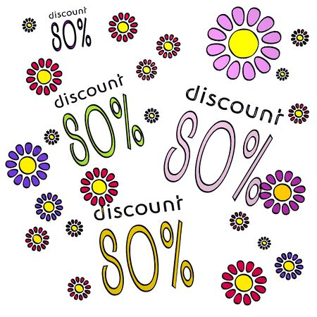 happy spring flower hand drawn sketch of four discount with fresh flowers on white background