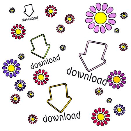 fantasize: happy spring flower hand drawn sketch of four download with happy flowers on white background
