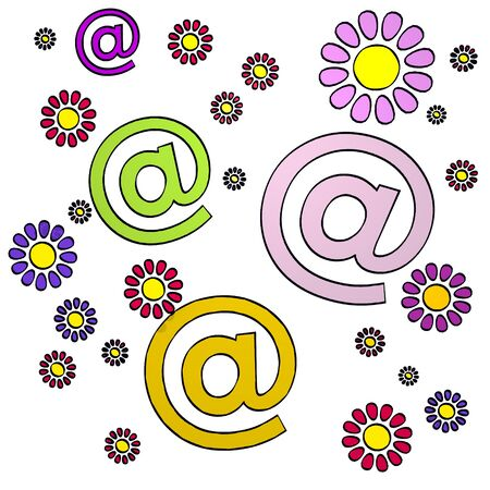 happy spring flower hand drawn sketch of four email with childish flowers on white background