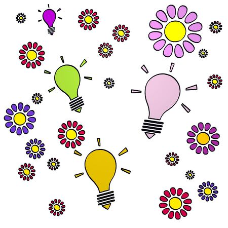 fantasize: happy spring flower hand drawn sketch of four idea with fresh flowers on white background Stock Photo