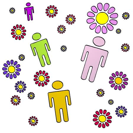 fantasize: happy spring flower hand drawn sketch of four man with cute flowers on white background Stock Photo