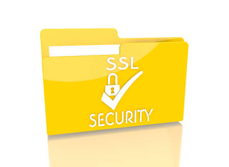 ciphering: a 3d rendered icon showing a file folder with a SSL symbol on it isolated on white background Stock Photo
