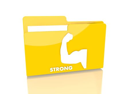 it is isolated: a 3d rendered icon showing a file folder with a strong sign on it isolated on white background