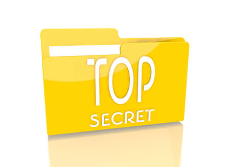 undercover: a 3d rendered icon showing a file folder with a top secret sign on it isolated on white background