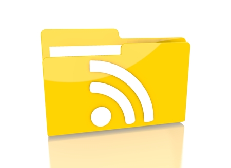 it is isolated: a 3d rendered icon showing a file folder with a wifi symbol on it isolated on white background