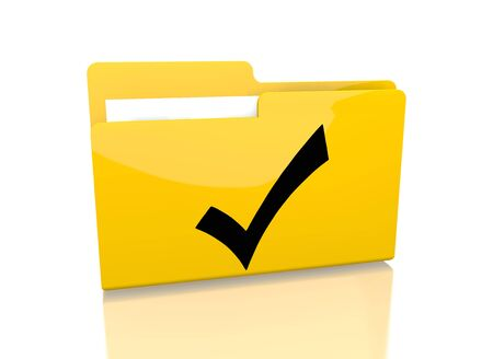 it is isolated: a 3d rendered icon showing a file folder with a check symbol on it isolated on white background Stock Photo