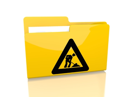 archive site: a 3d rendered icon showing a file folder with a construction site sign on it isolated on white background