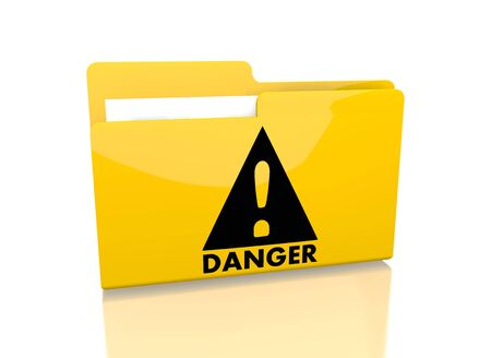 it is isolated: a 3d rendered icon showing a file folder with a Danger sign on it isolated on white background Stock Photo