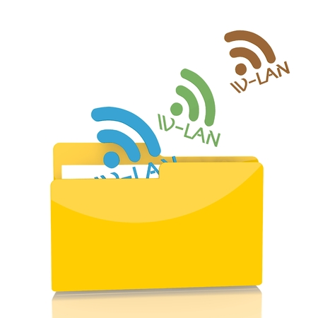 wlan: isolated 3d file folder with three wlan sign flying into it Stock Photo