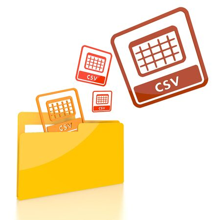 csv: isolated 3d file folder with three csv symbol flying into it