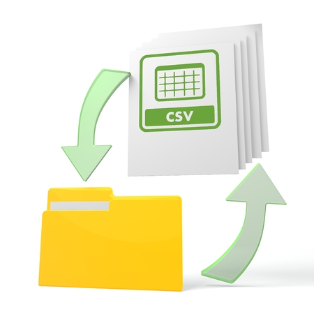 csv: isolated 3d file folder with csv sign on documents with symbol for upload and download