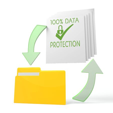 ciphering: isolated 3d file folder with data protection symbol on documents with symbol for upload and download Stock Photo