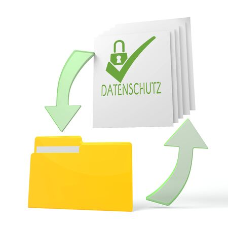 ciphering: isolated 3d file folder with datenschutz(english data protection) sign on documents with symbol for upload and download