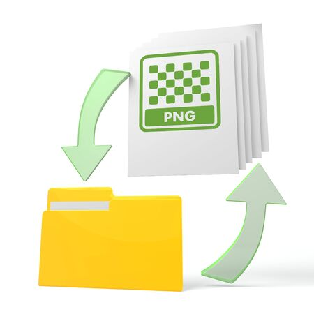 png: isolated 3d file folder with png file sign on documents with symbol for upload and download