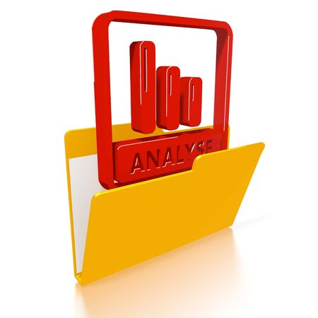 3d icon of a file folder with a red analyse German for analysis icon in it isolated on white background photo