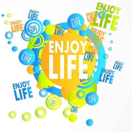 enjoy life: flying enjoy life icons isolated on white background Stock Photo