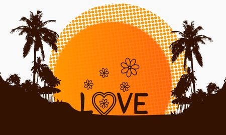 illustration of a modern love sign on a beach with rising sun and palm trees in the background illustration