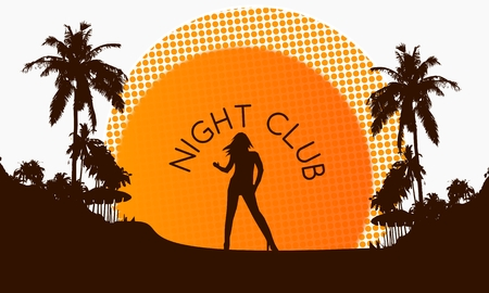 illustration of a modern night club symbol on a beach with rising sun and palm trees in the background illustration