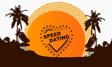 speed dating: illustration of a modern speed dating sign on a beach with rising sun and palm trees in the background