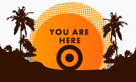 illustration of a modern you are here symbol on a beach with rising sun and palm trees in the background