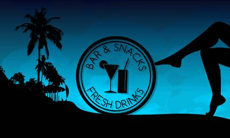 fresh drinks sign on a beach with sexy woman legs and palm trees on blue night background photo