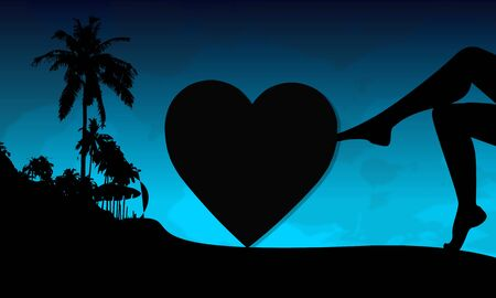 heart sign on a beach with sexy woman legs and palm trees on blue night background photo