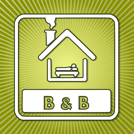 breakfast in bed: fresh green bed and breakfast symbol with radial background