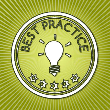 best practice: fresh green best practice sign with retro background  Stock Photo