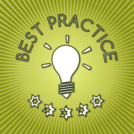 best practice: fresh green best practice symbol with design background