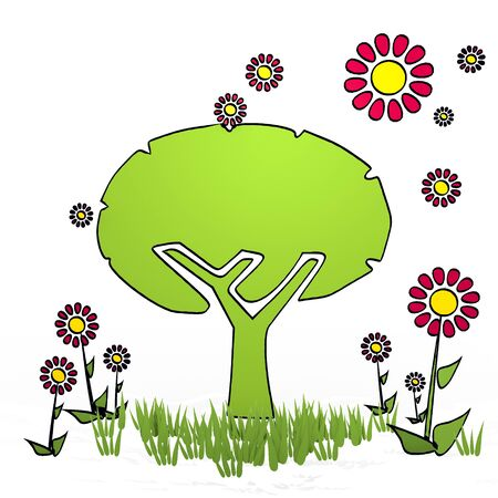 autumnn: spring flower hand drawn sketch of abstract tree with simple flowers on white background