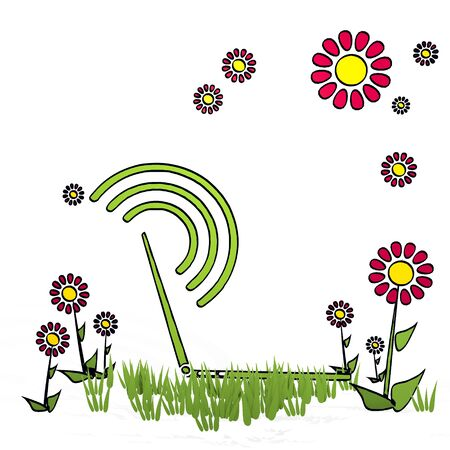 spring flower hand drawn sketch of netbook with scribble flowers on white background