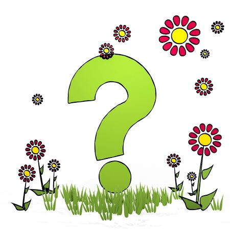 fantasize: spring flower hand drawn sketch of question with artistic flowers on white background Stock Photo